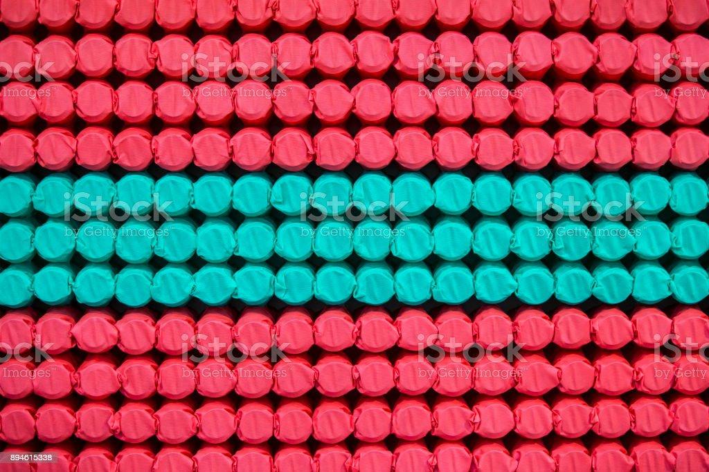 Pocket independent spring sewn in color span-bond. Inside mattress stock photo