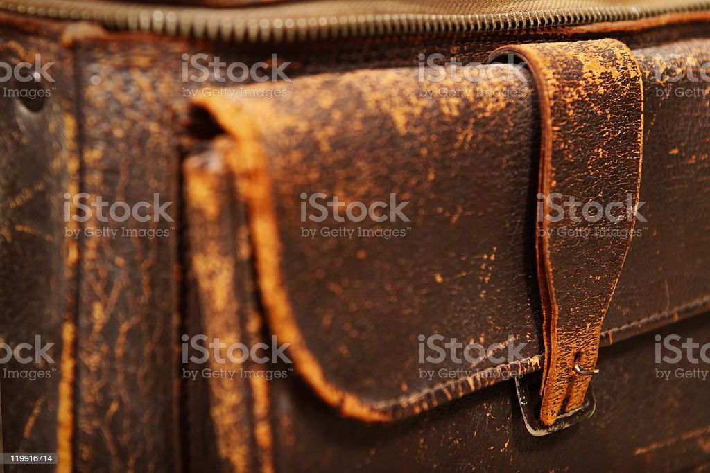 Pocket of a old leather bag stock photo