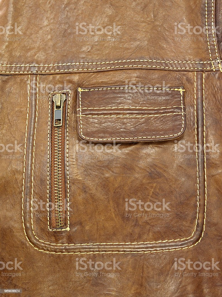 Pocket of leather jacket royalty-free stock photo
