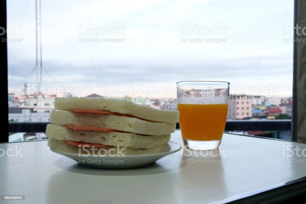 Pocket sandwich for breakfast or lunch. stock photo