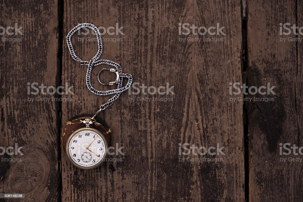Pocket watch and chain stock photo