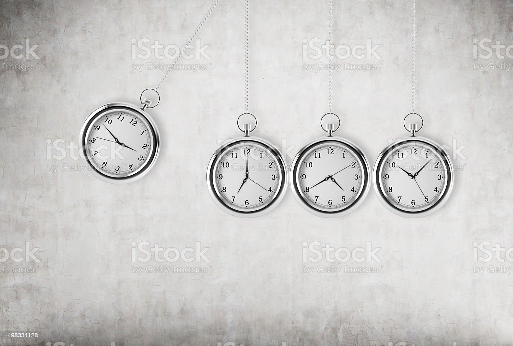 pocket watch as a swing of the pendulum stock photo