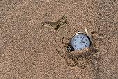 Pocket watch on gobi desert