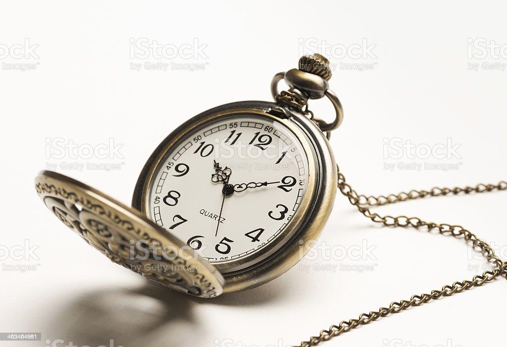 pocket watch on white background stock photo