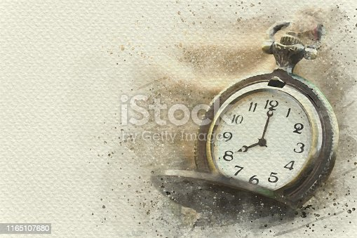Pocket watch tied with hemp rope on wooden table. Digital watercolor painting effect. Copy space for text.