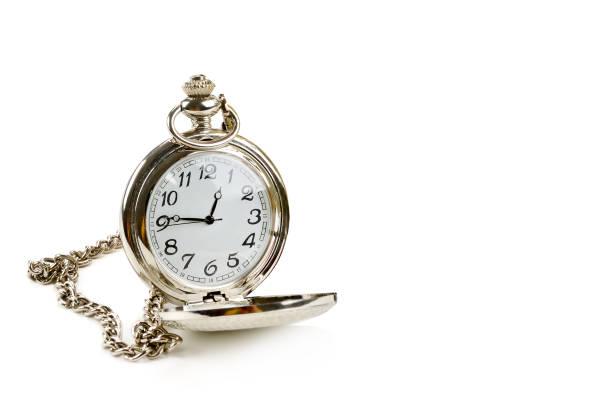 Pocket Watch mit Kette isoliert auf weißem Hintergrund. – Foto