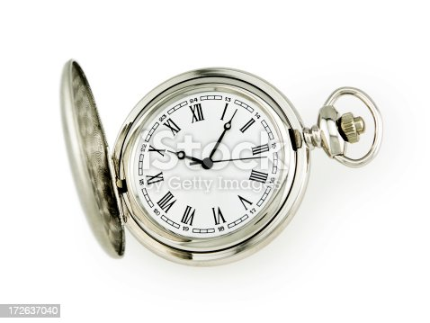 Classic pocket watch with open face. Full clipping path included.