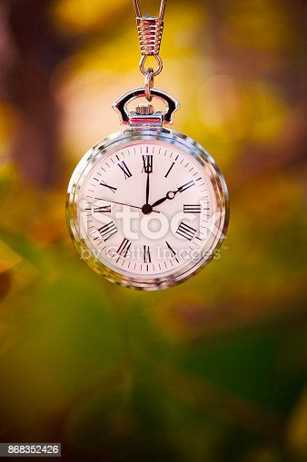istock Pocket watch with fall leaves. Daylight Savings Time 868352426