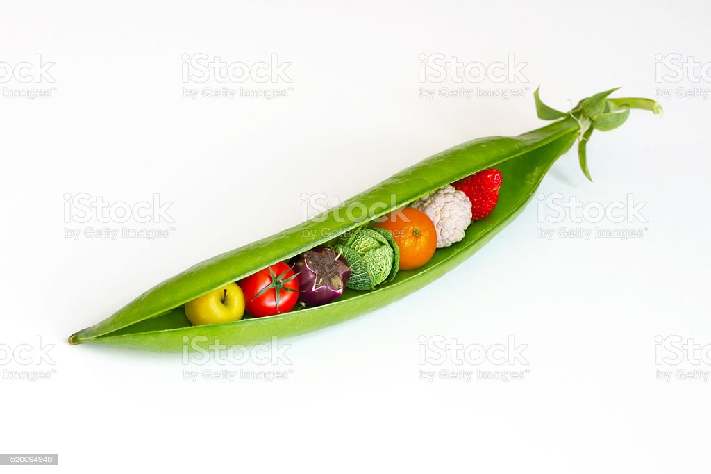 Pod containing fruits and vegetables stock photo
