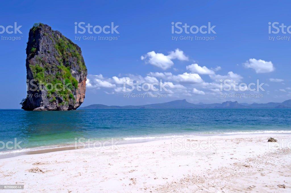 Poda island beach with the famous Ko Ma Tang Ming rock stock photo