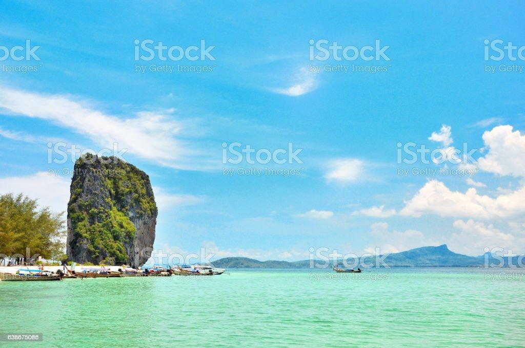 Poda Island in Krabi Thailand stock photo