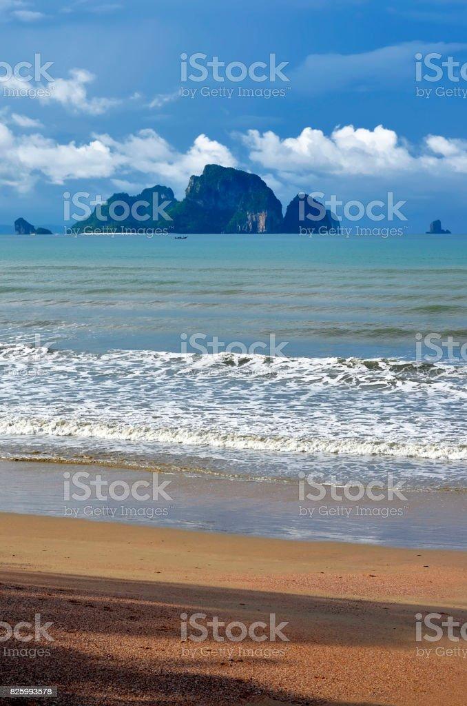 Poda island in the Andaman Sea seen from Ao Nang beach stock photo