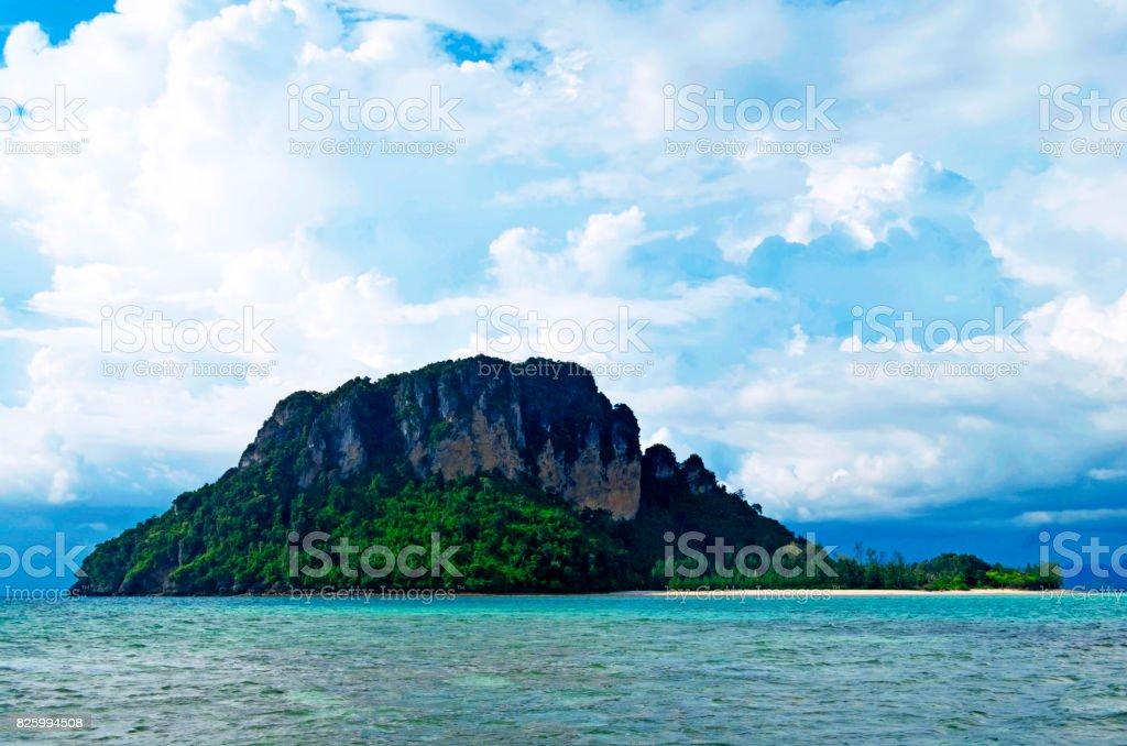 Poda island in the Andaman Sea seen from Chicken island stock photo