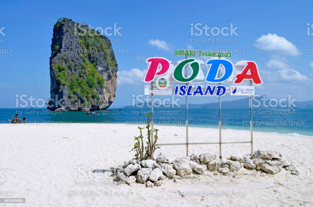 Poda island information sign stock photo