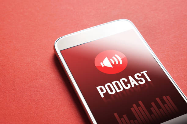 Podcast app on smartphone. Listening to sound and audio entertainment. stock photo