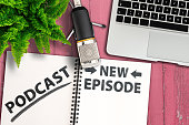 istock podcasting concept, top view of podcast recording equipment on table 1207265788