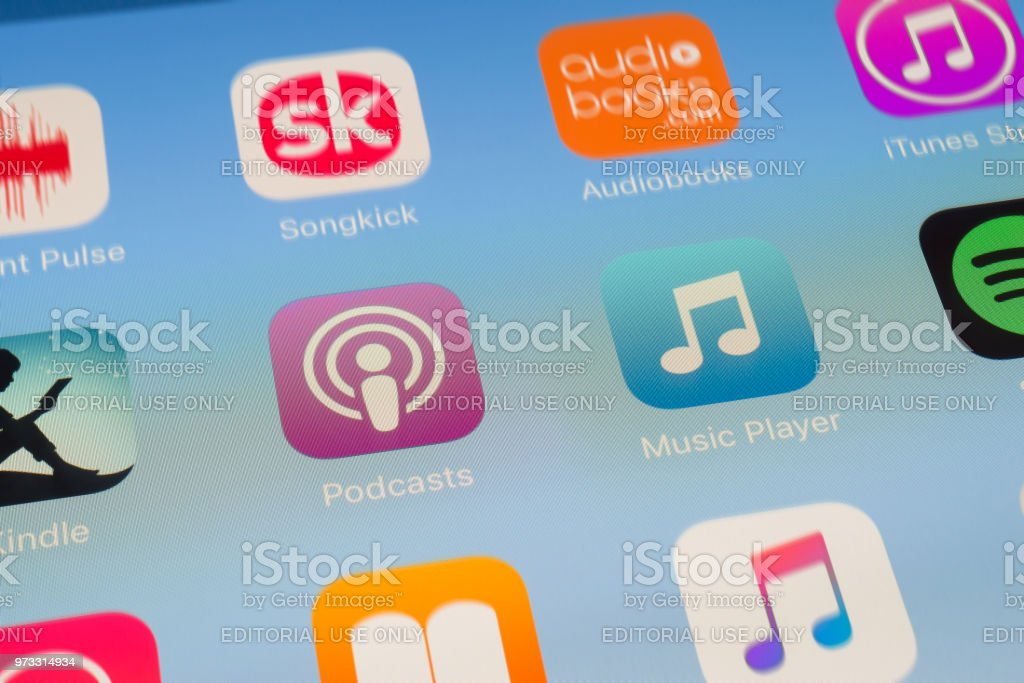 Podcasts, Music Player and other streaming Apps on iPad screen stock photo