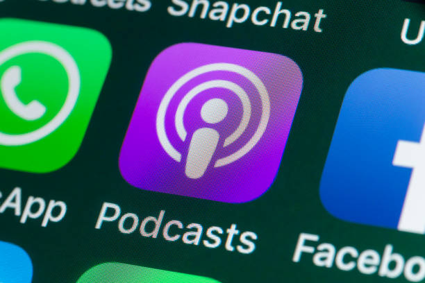 Podcasts , WhatsApp, Facebook and other Apps on iPhone screen - foto stock