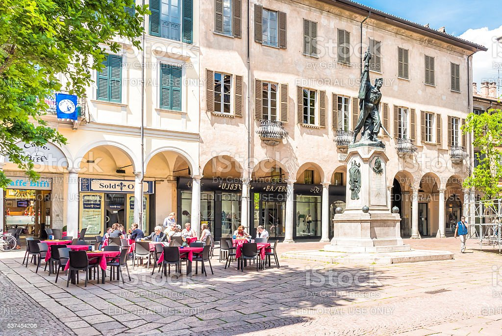 Podesta Square with monument to Giuseppe Garibaldi, Varese. stock photo