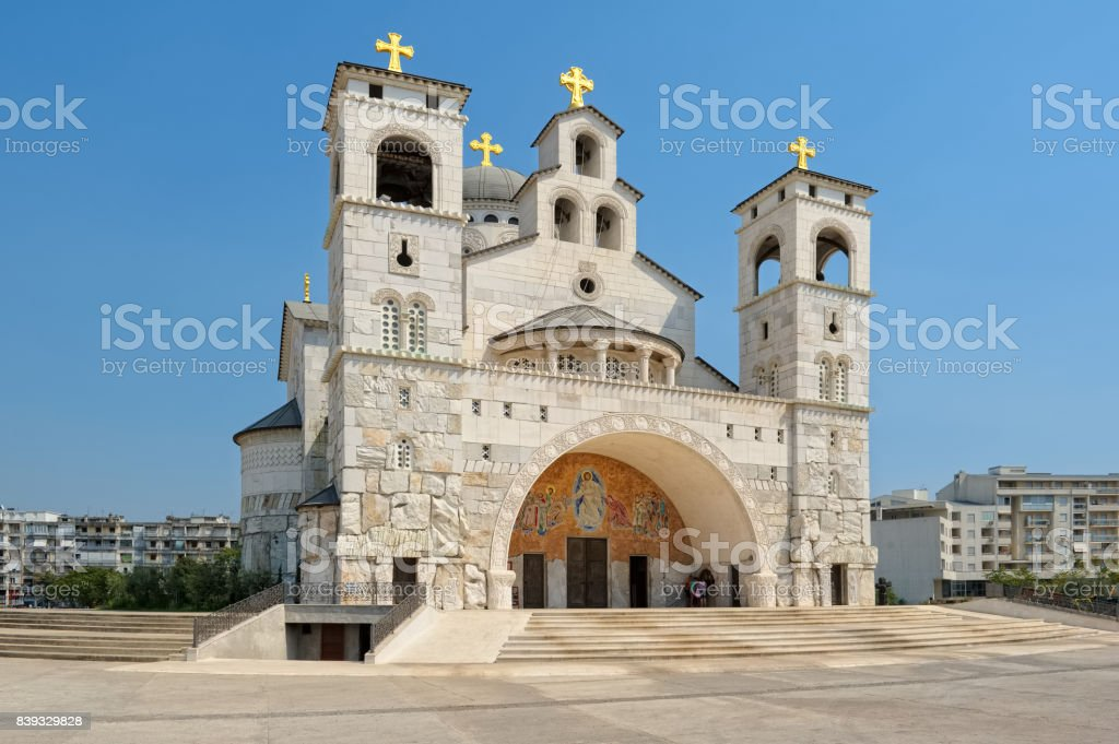 Podgorica, Cathedral of the Resurrection of Christ stock photo