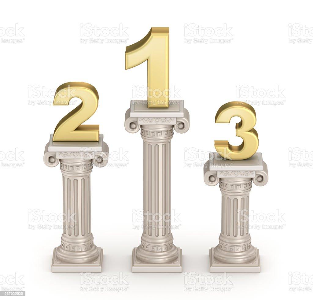 Podium : Antique doric style column with numbers stock photo