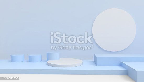 Podium Circle and Rectangular Modern in abstract blue composition minimal Art and Concept on Blue Background - 3D rendering