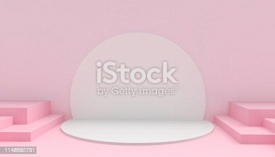istock Podium Circle and Rectangular Modern in abstract Pink composition minimal Art and Concept on Pink background - 3D rendering 1148592731
