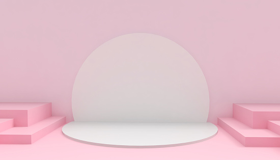 Podium Circle and Rectangular Modern in abstract Pink composition minimal Art and Concept on Pink background - 3D rendering