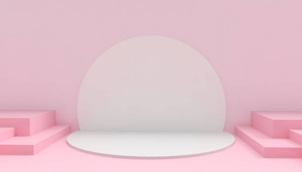 podium circle and rectangular modern in abstract pink composition minimal art and concept on pink background - 3d rendering - turno sportivo foto e immagini stock