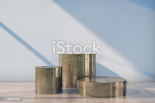 istock Podium Concept, Empty Showcase, Pedestal, Showroom, Product stand with sunlight on concrete background 1126334367