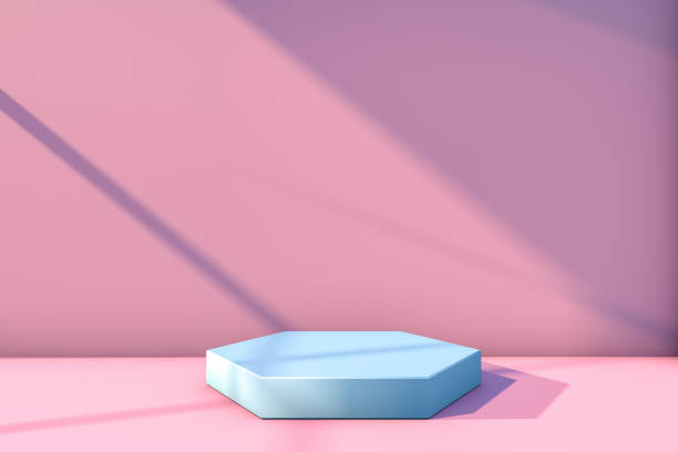 Podium Concept, Empty Showcase, Pedestal, Showroom, Product stand with sunlight on pink background 3d rendering abstract still life scene, podium concept, hexagon shapes ,pedestal, showcase, empty, sunlight. still life stock pictures, royalty-free photos & images