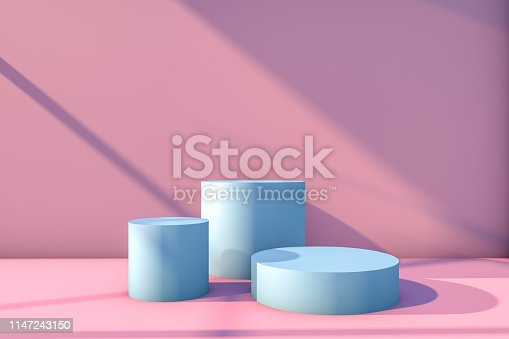 istock Podium Concept, Empty Showcase, Pedestal, Showroom, Product stand with sunlight on pink background 1147243150