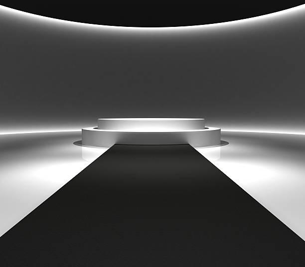 Podium design and carpet walkway 3d rendering stock photo