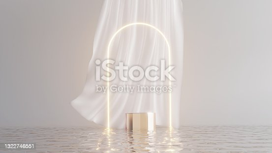 istock 3D podium display on water with glowing gate white curtain cloth. Bright dreamy background with   Cosmetic beauty product promotion stand mock up. Step pedestal, minimal banner 3D render 1322746551