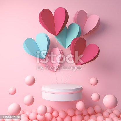 3d rendering of podium display with heart and pink ball, happy valentines day background.