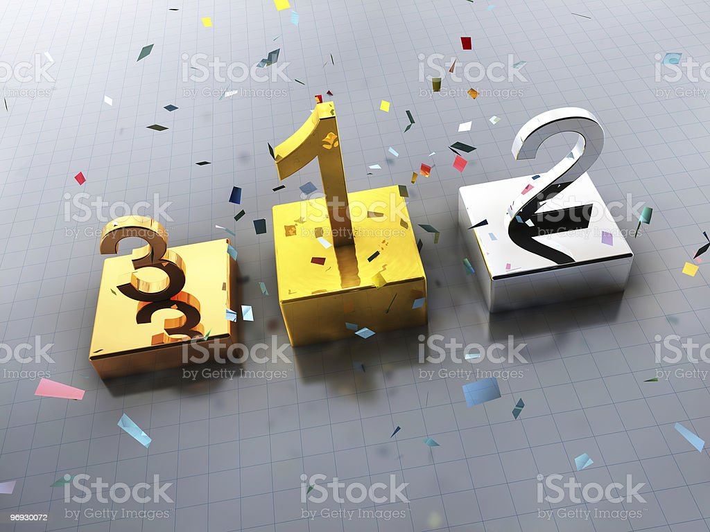 Podium gold, silver and bronze medals royalty-free stock photo