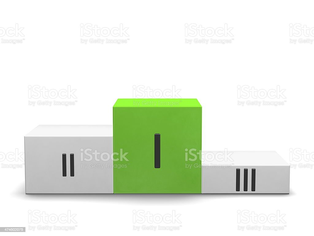 Podium, green cube for first place, Roman numerals. Front view royalty-free stock photo