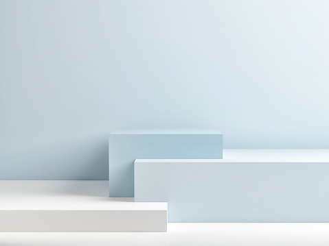 istock Podium in abstract blue minimalism composition 1049530612