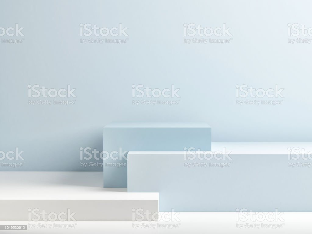 Podium in abstract blue minimalism composition stock photo