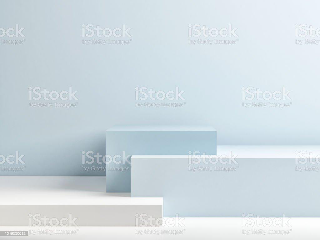 Podium in abstracte blauwe minimalisme samenstelling foto