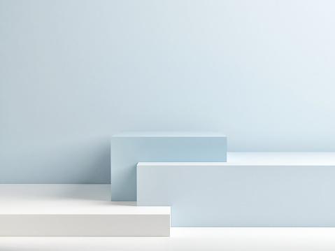 Podium In Abstract Blue Minimalism Composition - zdjęcia stockowe i więcej obrazów Abstrakcja