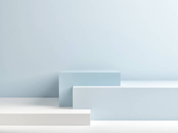 podium in abstract blue minimalism composition - geometric shape stock pictures, royalty-free photos & images