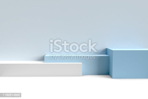 istock Podium in abstract blue minimalism composition 1150514552