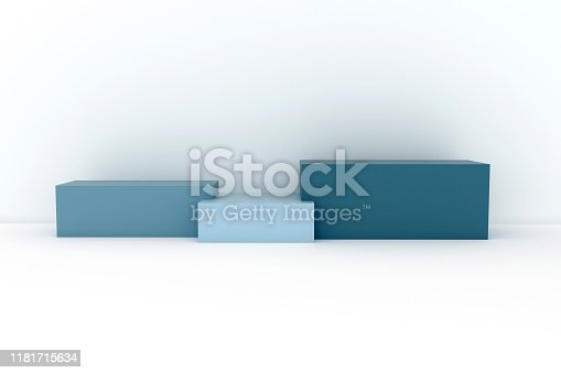 1049530612istockphoto Podium in abstract blue minimalism composition 1181715634