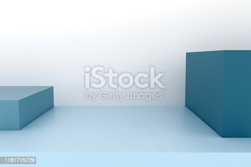1049530612istockphoto Podium in abstract blue minimalism composition 1181715729