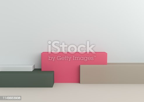 1049530612 istock photo Podium in abstract Naturalist palette ranges composition, Minimal concept, 3d render 1149653938