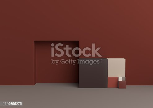 1049530612 istock photo Podium in abstract Naturalist palette ranges composition, Minimal concept, 3d render 1149655275