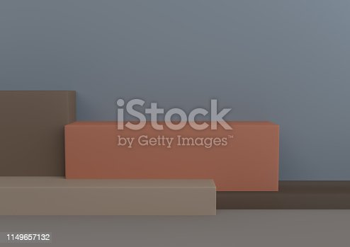 1049530612 istock photo Podium in abstract Naturalist palette ranges composition, Minimal concept, 3d render 1149657132