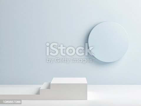 istock Podium in abstract room, interior 1089857086