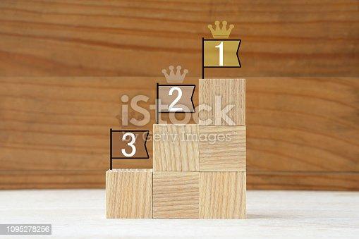istock Podium made of wooden blocks 1095278256